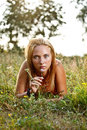 Woman on the meadow Royalty Free Stock Photography