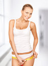 Woman measuring her hips Royalty Free Stock Photo