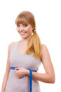Woman measuring her size under breast isolated Royalty Free Stock Photo