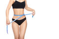Woman measuring her waist by blue measure tape