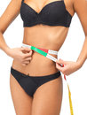 Woman measuring her waist with measuring tape Royalty Free Stock Photo