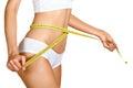 Woman measuring her waistline. Perfect Slim Body Royalty Free Stock Photo