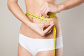 Woman measuring her waistline perfect slim body diet Stock Photo