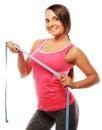 Woman measuring her waistline . Perfect Slim Body Royalty Free Stock Photo