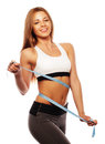 Woman measuring her waistline . Perfect Slim Body Royalty Free Stock Photo