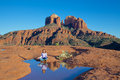 Woman meditating scenic landscape reflection iconic cathedral rock near sedona arizona Stock Image