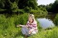 Woman meditation Stock Image