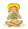 Woman in meditation cartoon illustration of a practicing yoga and Stock Images