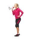 Woman with megaphone picture of beautiful sporty Royalty Free Stock Photography