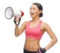 Woman with megaphone picture of beautiful sporty Stock Image