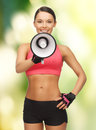 Woman with megaphone picture of beautiful sporty Stock Photo