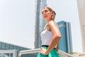 Woman in metropolitan city dubai young enjoying view Royalty Free Stock Photography