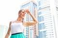 Woman in metropolitan city dubai young enjoying view Royalty Free Stock Photo