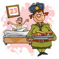 Woman in military uniform with a tray of food and a guy in bed