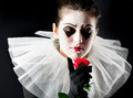 Woman mime with red rose Royalty Free Stock Photography