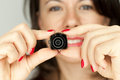 Woman with mini photocamera dslr Royalty Free Stock Image
