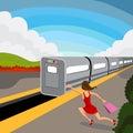 Mujer mina tren