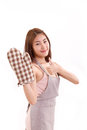 Woman with mitten showing thumb up glove Royalty Free Stock Photography