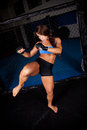 Woman MMA Fighter Kick Stock Images