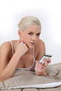 Woman on mobile phone a Royalty Free Stock Photos