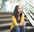 Woman Mobile Phone Connection Waiting City Technology Concept Royalty Free Stock Photo