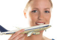 Woman with model airplane a young the of an aircraft looking forward to your next vacation Stock Photo