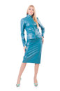 Woman model in blue leather suit Stock Images