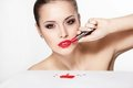 Woman model with glamour red lips Royalty Free Stock Photography