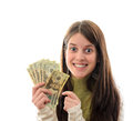 Woman with Money Stock Photos