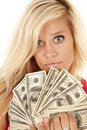 Woman money close serious Royalty Free Stock Photography