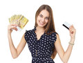 Woman with money and credit card portrait of young beautiful smiling holding euro banknotes isolated on white background Royalty Free Stock Photos