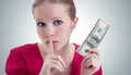 Woman with money, dollars  says Royalty Free Stock Photo