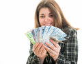 Woman with money in her hands hispanic counting canadian dollars successful business canada s multicultural society white Stock Photos