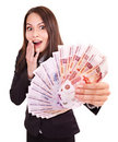 Woman with  money. Russian rouble. Stock Photos