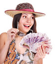 Woman with  money. Russian rouble. Royalty Free Stock Images