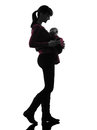 Woman mother walking baby silhouette one caucasian women on white background Royalty Free Stock Photo