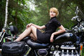 Woman on motorcycle Royalty Free Stock Photography