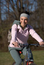 Woman mountain bike Stock Image