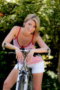Woman with mountain bike bicycle Royalty Free Stock Photo