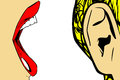 Woman mouth and ear open talking illustration retro background Royalty Free Stock Photos