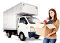 Woman moving house Royalty Free Stock Photos