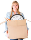 Woman moving house Stock Images