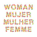Woman mujer mulher femme word in different languages made with flowers isolated vector Stock Photography
