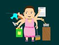 Woman multi tasking with six arms doing different household chores Stock Photos