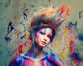 Woman muse with body art young creative and hairdo Stock Photo