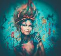 Woman muse with body art young creative and hairdo Royalty Free Stock Photo