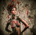Woman muse with body art young creative and hairdo Stock Photography