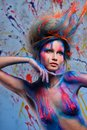 Woman muse with body art young creative and hairdo Stock Image