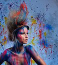 Woman muse with body art young creative and hairdo Stock Photos