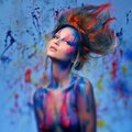 Woman muse with body art young creative and hairdo Royalty Free Stock Images
